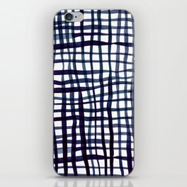 Watercolor doodle gingham - indigo iPhone Skin