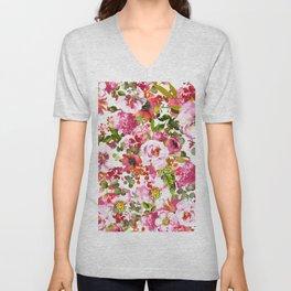 Pink lilac orange watercolor botanical roses floral Unisex V-Neck
