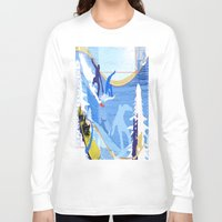 snowboarding Long Sleeve T-shirts featuring Snowboarding by Robin Curtiss
