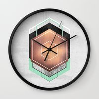 hexagon Wall Clocks featuring Hexagon Abstract #1 by Elisabeth Fredriksson