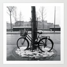 Snowy bike in Paris Art Print