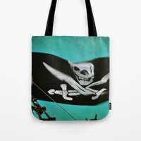 "pirate ship Tote Bags featuring ""Pirate Ship"" by Bella Blue Photography"