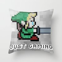 gaming Throw Pillows featuring JUST GAMING by Edgar