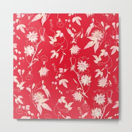 Festive Christmas Bright Red Passion Flowers Metal Print