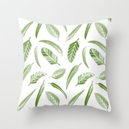 Leaf Pattern - Green Throw Pillow