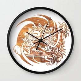 Break of Dawn - Maori Surf Sun - Warm Wood Wall Clock