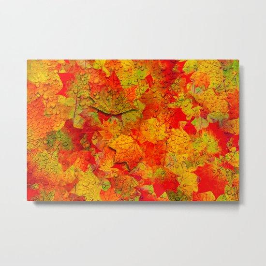 Indian Summer V - Autum Fall Colorful leaves Season #Society6 Metal Print