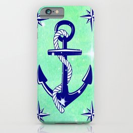 Blue Anchor on Lime Green iPhone Case