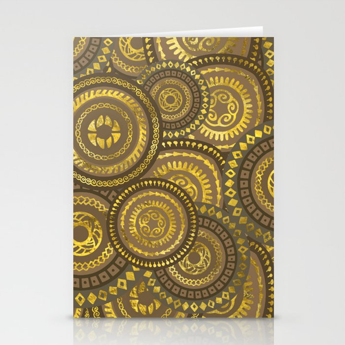 Circular Ethnic  pattern pastel gold Stationery Cards