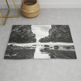 Keyhole Rock Black and White Big Sur Rug