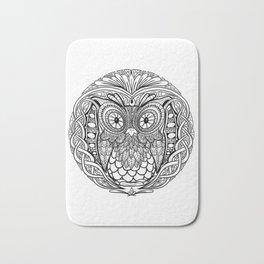 Black and White Mandala Owl Black and White Mandala Owl Bath Mat