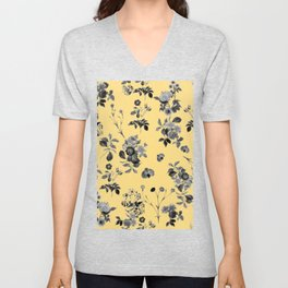 Black and White Floral on Yellow Unisex V-Neck