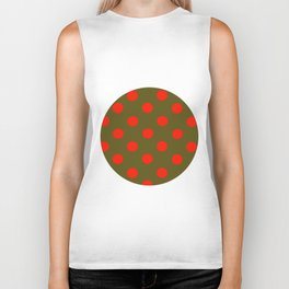 Polka Dot Madness, Brown and Red Biker Tank