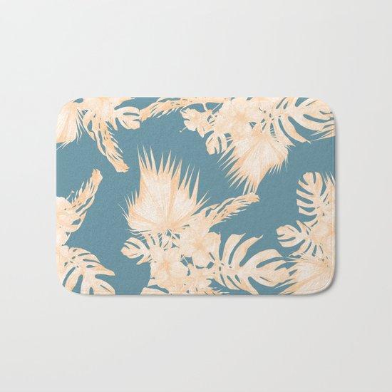 Island Vacation Hibiscus Palm Coral Teal Blue Bath Mat