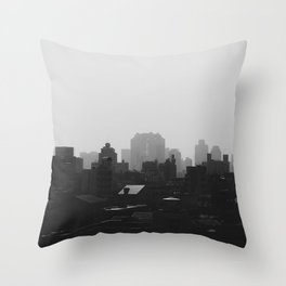 Black and White city Throw Pillow