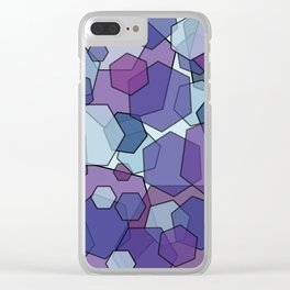 Converging Hexes - purple and blue Clear iPhone Case