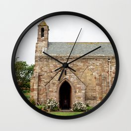 The quintessentially British church of St Mary, on Holy Island in Northumberland. Wall Clock