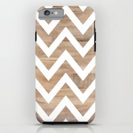 woodgrain cheveron iPhone Case