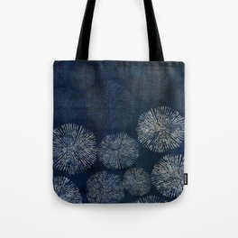 Denim Blue Shibori Sea Urchin Burst Pattern Tote Bag
