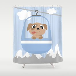 Mobil series cable car dog Shower Curtain