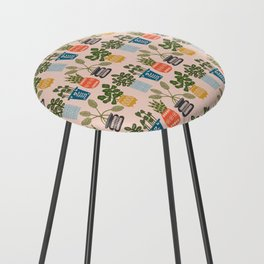 Plants in Pots Print Counter Stool