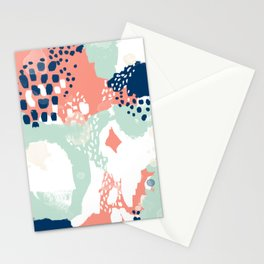 Kayl - abstract painting minimal coral mint navy color palette boho hipster decor nursery Stationery Cards