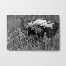 Minolta film camera black and white Metal Print