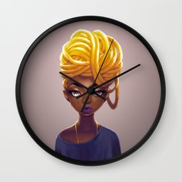 Gold Locs Wall Clock
