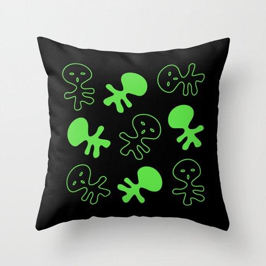 Aliens-Green Throw Pillow
