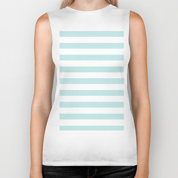Simply Striped in Succulent Blue and White Biker Tank