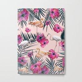 Flamingo Hibiscus Jungle Siesta #3 #tropical #decor #art #society6 Metal Print