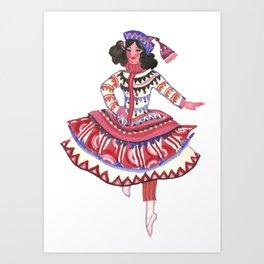 Whimsical Costume. Theater. Circus. Portrait. Dance Art Print