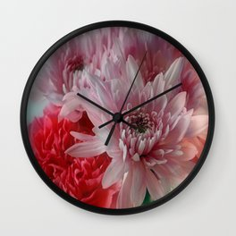 Carnation and Chrysanthemums  Wall Clock