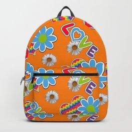 Hippie Heart Rainbow Print in Orange Backpack