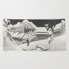 Kanbara Station - Vintage Japan Woodblock Beach Towel