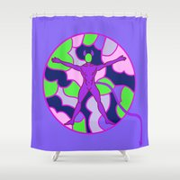 hell Shower Curtains featuring Cell Hell by Sandyshow