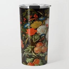 """Abraham Mignon """"Flowers and Fruit"""" Travel Mug"""