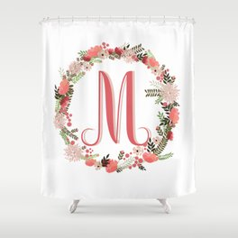 Personal monogram letter 'M' flower wreath Shower Curtain