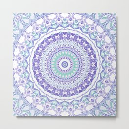 Pastel Purple and Green Mandala Metal Print