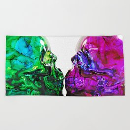 Deadly Nightshade & Arsenic Poison Skull Bottles Beach Towel