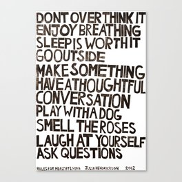 Rules for Healthy Living Canvas Print