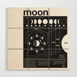 Phases of the Moon infographic Wood Wall Art