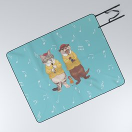A GIRL WITH CAT and OTTER wide Picnic Blanket