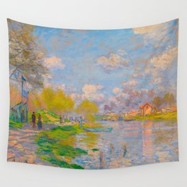 Claude Monet Impressionist Landscape Oil Painting Spring by the Seine Wall Tapestry