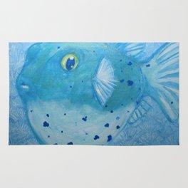 Friendly Fugu (Blue) Rug