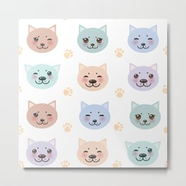 pattern funny cat muzzle and paw prints on white background Metal Print