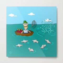 Fishing with Dynamite Cartoon Metal Print