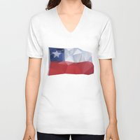 chile V-neck T-shirts featuring CHILE FLAG  by Favio Torres