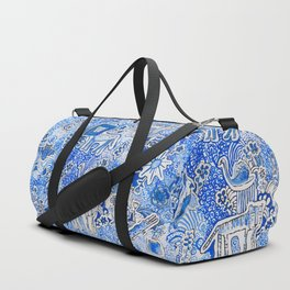 Delft Blue and White Pattern Painting with Lions and Tigers and Birds Duffle Bag