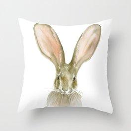 Jack Rabbit Watercolor Throw Pillow